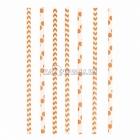 Kokteiļa papīra salmiņi, oranžas, ar punktiņu un līkloču   zigzag rakstu, 20cm,24 gab.