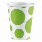 PUNKTI Papīra glāzes, Kivi krāsa, 256 ml, 8.gab.
