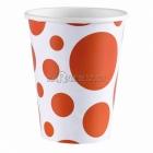 PUNKTI Papīra glāzes, Oranža krāsa, 256 ml, 8.gab.