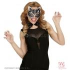 Melna-sudraba spīdīga kaķa  maska un tauriņš