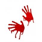 Šausminošas, asiņainas rokas, sarkanā krāsā, logu dekoram