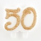 """Skaitlis """"50""""  svece tortei, zelta,  7 cm"""