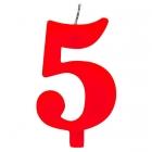 """Tortes svece staitlis """"5"""" , sarkanā, dzirkstošā, 9.5 cm"""