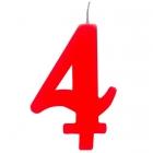 """Tortes svece staitlis """"4"""" , sarkanā, dzirkstošā, 9.5 cm"""