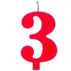 """Tortes svece staitlis """"3"""" , sarkanā, dzirkstošā, 9.5 cm"""
