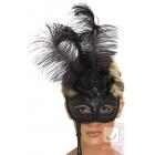 Baroka stila maska, melna ar spalvām, uz kociņa