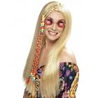 Hipija parūka, gara, blonda ar krāsainu matu pīni un pērlītēm, sintētika