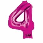 66cm x 88cm Skaitlis 4 Folija balons Super figure Rozā