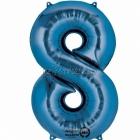 """26""""/66cm x 34""""/86cm Skaitlis 8 Folija balons Super figure Zilā"""