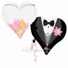 """Folijas hēlija balons kāzām """"Viņš un viņa"""" izmērs 73 x 63 cm,"""