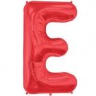 """Burtu balons sarkanās krāsā """"E"""",  87cm, folijas figūra paredzēta piepūšanai ar hēliju"""