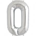 """Burtu balons sudraba  krāsā  """"O"""",  87cm, folijas figūra paredzēta piepūšanai ar hēliju"""