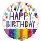 Dzimšanas diena  folija balons  zvaigznes svītras, trīsstūri 45 cm