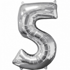 45cm x 66cm Skaitlis 5 Folija balons Super figure Sudrabs