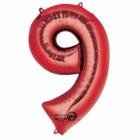 63cm x 86cm Skaitlis 9 Folija balons Super figure Sarkana