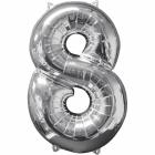 43 x 66 cm Skaitlis 8 Folija balons Super figure Sudrabs