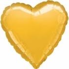 Zeltā krāsā sirds formas folijas balons piepūšams ar hēliju izmērs 43 cm