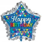"""Zvaigznes formas folijas balons """"Dzimšanas diena"""", izmērs 86 x 81 cm,"""