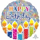 Dzimšanas diena Jumbo hologrāfiskais folijas hēlija balons, izmērs 81 cm