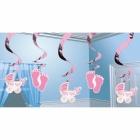 Meitenes piedzimšana  piekaramās spīdīgas dekorācijas  spirālveida folijas 61 cm 5 gab.