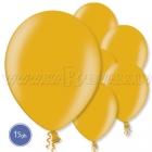"""12""""/30cm lateksa balons, metalliks,zelta, 15 gab."""