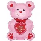 """Folijas gaisa balons """"Mīļu Tevi lācis, rozā"""", 30 x 20 cm,  lietojams ar kociņu (nav komplektā)"""