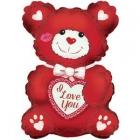 """Folijas gaisa balons """"Mīļu Tevi lācis, sarkans ar baltu"""", 30 x 20 cm,  lietojams ar kociņu (nav komplektā)"""