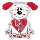 """Folijas gaisa balons """"Mīļu Tevi balts sunītisi"""", 32 x 30 cm,  lietojams ar kociņu (nav komplektā)"""
