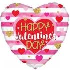 """Folijas sirds formas balons """"Laimes Valentīna Dienā """", akvareļkrāsu sirdis ar svītrām, rozā, 43 cm"""