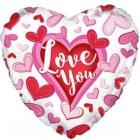 Folija sirds formas balons Mīlu Tevi Šūtas Sirdis, rozā, 43 cm., hēlija apjoms 0.013 kbm