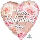 """Folija balons """"Valentīna rozā zelta rozes"""", sirds formas balons, 43 cm,"""