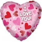 Folija sirds formas balons Mīļu Tevi Apzīmēta Sirds, rozā, 43 cm.
