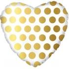 Folija sirds formas balons ar punktiem, zelts, 43 cm., hēlija apjoms 0.013 kbm