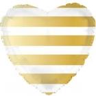 Folija sirds formas balons ar svītrām, zelts, 43 cm., hēlija apjoms 0.013 kbm