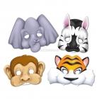 Papira maskas Džungli/Safari, komplektā 4 maskas