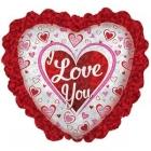 "Folijas hēlija sirds formas balons ""I Love You""  sarkans, ar kruzuli, izmērs 80 cm"
