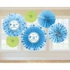 Zīdpapīra piekaramās dekorācijas,  zila, komplektā 6 gab.