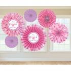 Zīdpapīra piekaramās dekorācijas,  rozā, komplektā 6 gab.