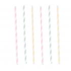 """Papīra salmiņi, strīpaini """"Dzimšanas diena pasteļtoņos"""" 12 gab"""