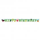 "Burtu baneris ""Jautra Ferma: Happy Birthday"" 182 x 5 cm"