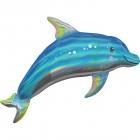 """Folijas hēlija balons """"Delfīns"""", zaigojoša krāsa, izmērs 73 x 68 cm,"""