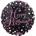 """Apaļš folijas balons """"Rozā dzirkstošā Dzimšanas Diena"""" ar hologrāfisku spīdumu, iepakots, 43 cm"""