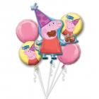 """5 hēlija balonu komplekts """"Cūciņa pepa / Peppa Pig"""" – 1 balons x 80 cm. un 4 baloni x 45 cm,"""