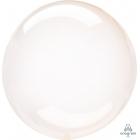 Apaļš caurspīdigs gaiši oranžs hēlija balons Crystal Clearz©, Izmērs 56 cm, piepūšams ar hēliju vai gaisu