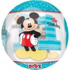 """Apaļš, caurspīdīgs balons """"1. dzimšanas diena – Peļuks Mikijs"""", Orbz ®, diametrs 43 cm,"""