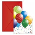 Ielūgumu kartiņas Happy Birthday - Svētku baloni, 6 gab.