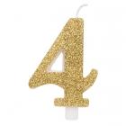 """Svece tortei vai kūkai """"4"""" ciparu formā, zelta, sprakstoša, komlektā ar svečturi, augstums 9.5 cm."""