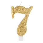 """Svece tortei vai kūkai """"7"""" ciparu formā, zelta, sprakstoša, komlektā ar svečturi, augstums 9.5 cm."""