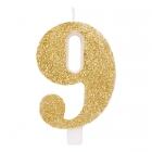 """Svece tortei vai kūkai """"9"""" ciparu formā, zelta, sprakstoša, komlektā ar svečturi, augstums 9.5 cm."""