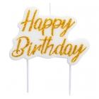 "Tortes svece ""Happy Birthday"", balta ar zelta burtiem, 8 x 6 cm."